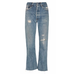 Leandra High Rise Rip Crop Flare Jeans by Re/Done in Keeping Up With The Kardashians