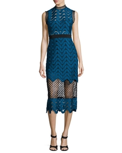 Scalloped Mixed-Lace Midi Dress by Self Portrait in Mistresses