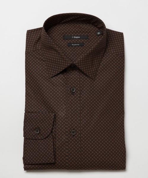 Brown Checkered Print Cotton Blend Spread Collar Dress Shirt by Z Zegna in Jersey Boys