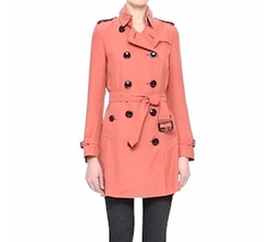 'Kensington' Double Breasted Silk Trench Coat by Burberry London in Arrow