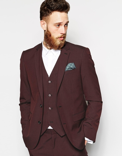 Slim Fit Suit Jacket In Burgundy Pindot by Asos in Empire