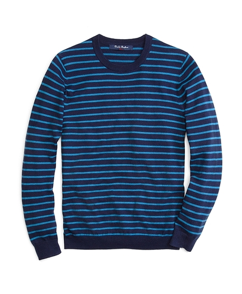 Micro Stripe Crewneck Sweater by Brooks Brothers in Poltergeist