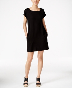 Square-Neck Shift Dress by Eileen Fisher in Billions