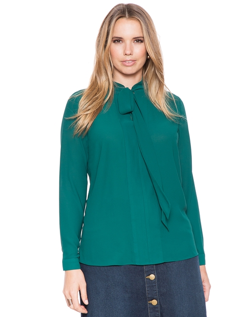 Tie Neck Blouse by Eloquii in Scream Queens