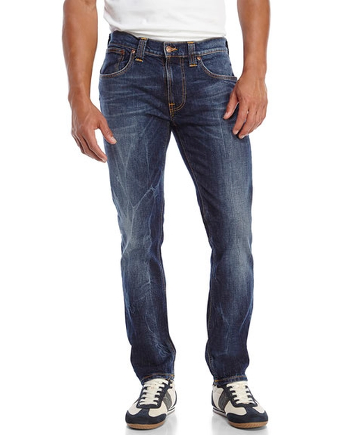 Dark Wash Tape Ted Jeans by Nudie Jeans in The Forest