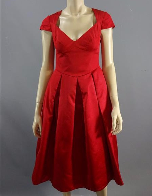 Custom Made Red Cap Sleeve Dress by Jill Taylor (Costume Designer) in Me Before You