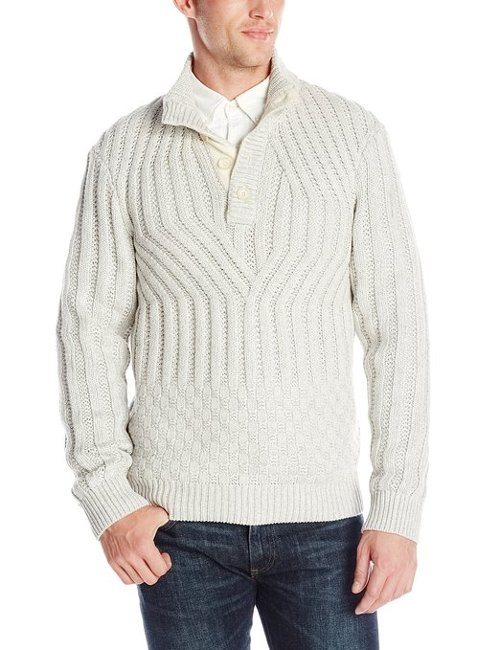 Cotton Rib Button Mock Sweater by Calvin Klein in Get Hard
