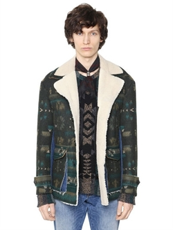 Wool Jacquard Shearling Coat by Valentino in Justice League