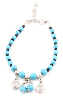 Turquoise Tibetan Charm Bracelet by Karma Mantra in Ouija