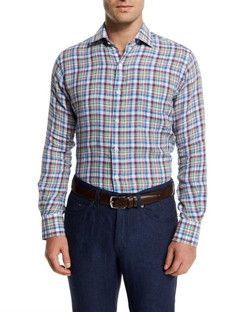 Plaid Linen Sport Shirt by Peter Millar in Pete's Dragon
