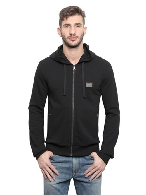 Zipped Cotton Fleece Hooded Sweatshirt by Dolce & Gabbana in That Awkward Moment