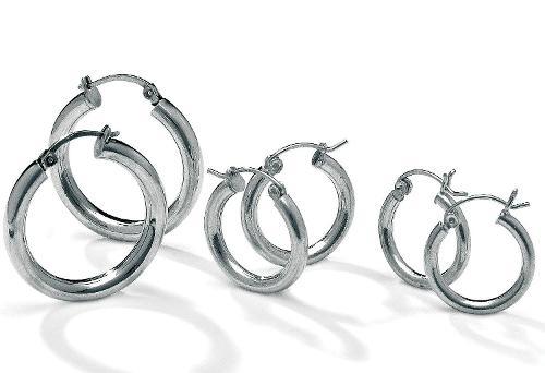 925 Sterling Silver 3 Pair Hoop Earrings Set by Silverline Jewelry in Warm Bodies