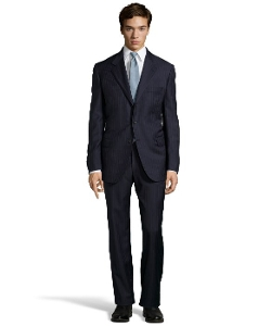 Pinstripe Wool Three-Button 'Senato' Suit by Brioni in Self/Less