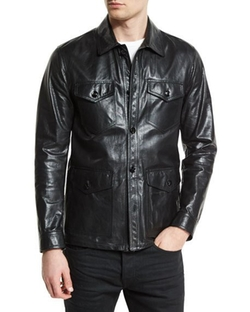 Lightweight Leather Racer Jacket by Tom Ford  in Sully