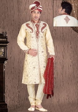 Cream Dupion Art Silk Readymade Sherwani by Utsavfashion in The Second Best Exotic Marigold Hotel