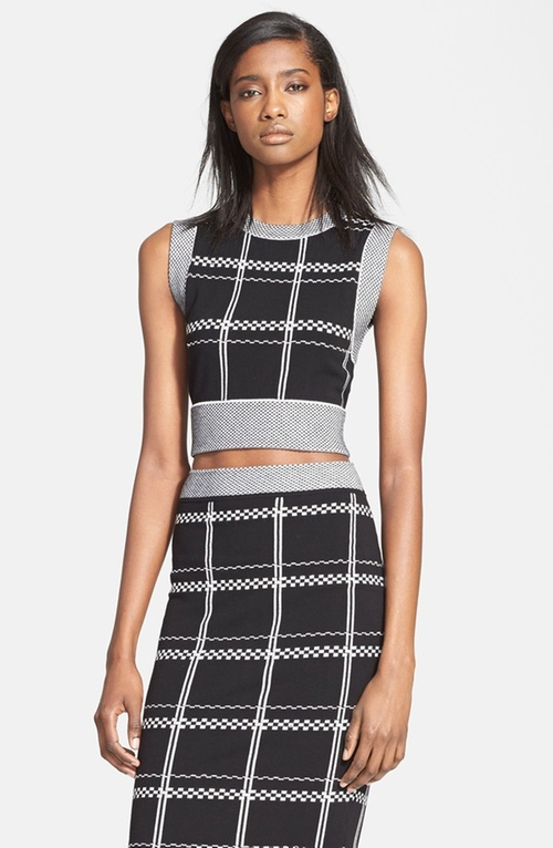 'Scott' Embroidered Check Crop Top by A.L.C. in The Mindy Project - Season 4 Episode 7