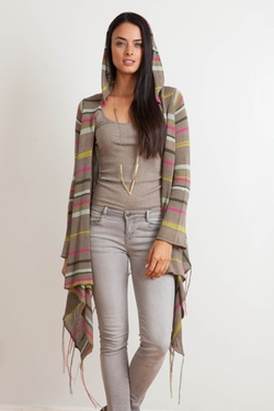 Linsey Hooded Wrap Cardigan by Goddis in Black-ish