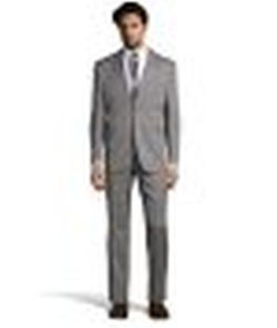 Grey Twill Wool 2-Button Suit by Yves Saint Laurent in The 33