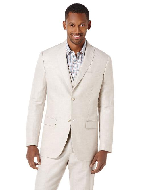 Linen Cotton Herringbone Suit Jacket by Perry Ellis in And So It Goes