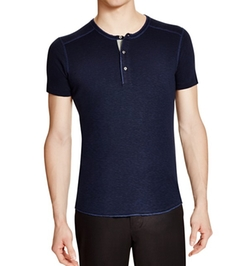 Slub Short Sleeve Henley Shirt by Wings and Horns in Billions