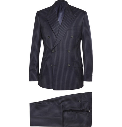Navy Double-Breasted Pinstripe Suit by Kingsman for Mr. Porter in Kingsman: The Secret Service