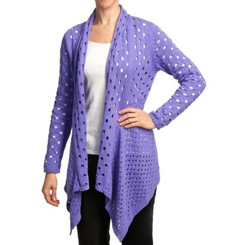 Meyers Open-Knit Cardigan Sweater by Pure Handknit in Boyhood