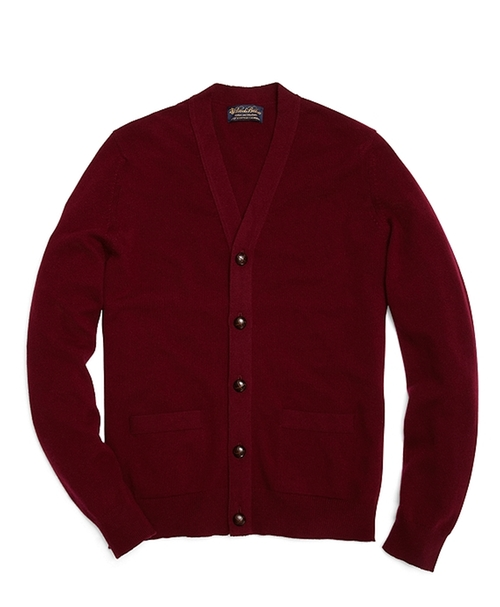 Cashmere Button-Front Cardigan by Brooks Brothers in Legend