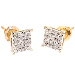 Diamond Square Head Earrings by My Dia Land in Ballers