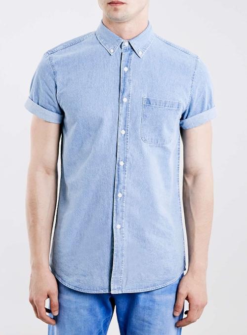 Mid Wash Blue Denim Short Sleeve Shirt by Topman in Dope