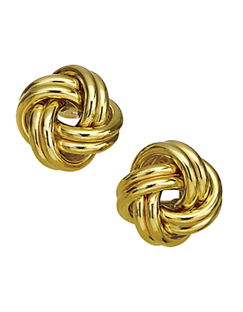 Yellow Gold Knot Earrings by Lord & Taylor in The Boss