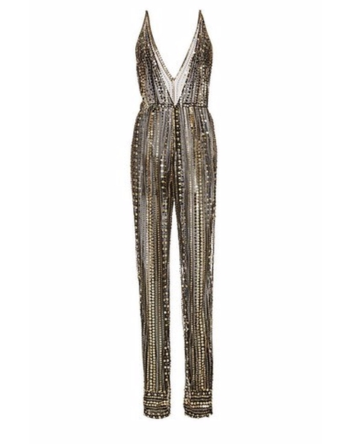 Metallic Beaded V-Front Jumpsuit by Naeem Khan in Empire - Season 3 Episode 4