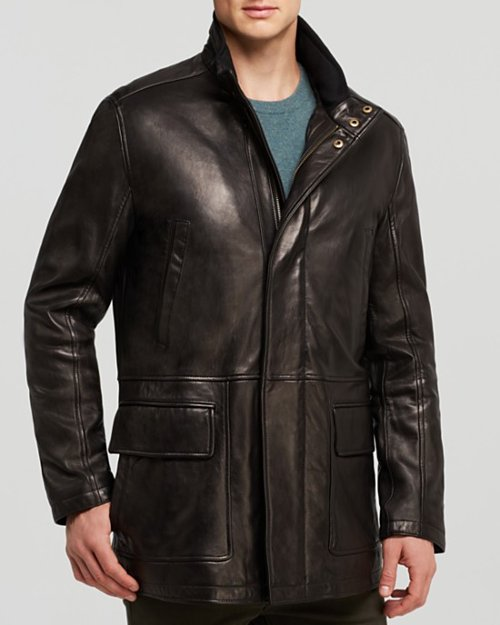 Smooth Lamb Car Coat by Cole Haan in The Gunman