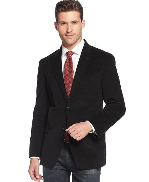 Solid Trim-Fit Corduroy Sport Coat with Elbow Patches by Tommy Hilfiger in Savages