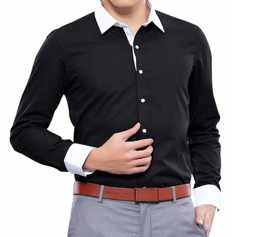 Contrast Collar Fitted Button Down Shirt by Pishon in Urge