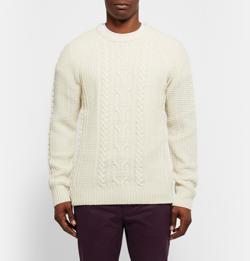 Cable Knit Merino Wool Sweater by Club Monaco in Fifty Shades Darker
