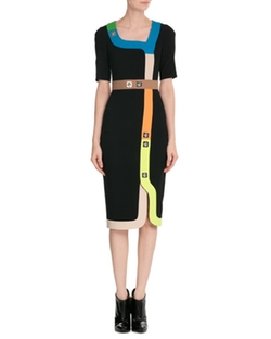 Multicolored Trim & Stud Embellishment Tailored Dress by Peter Pilotto in Mistresses