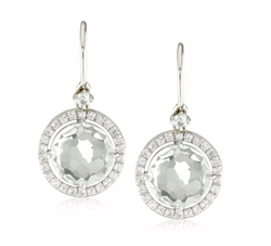 Round White Topaz Wire Drop Earrings by Suzanne Kalan in The Good Wife