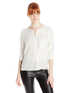 Venicia Silk Metallic-Stripe Blouse by Joie in Scandal
