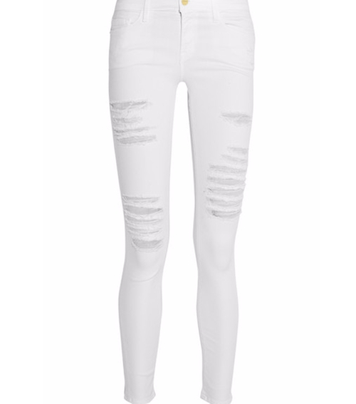 Le Skinny De Jeanne Distressed Mid-Rise Jeans by Frame in Keeping Up With The Kardashians - Season 12 Episode 15