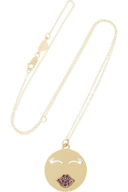 Mwa! Gold Ruby Necklace by Alison Lou in Pretty Little Liars