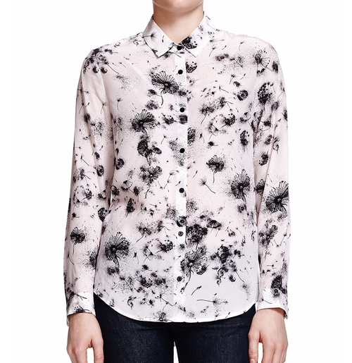 Dandelion-Print Silk Shirt by The Kooples in How To Get Away With Murder - Season 3 Episode 2