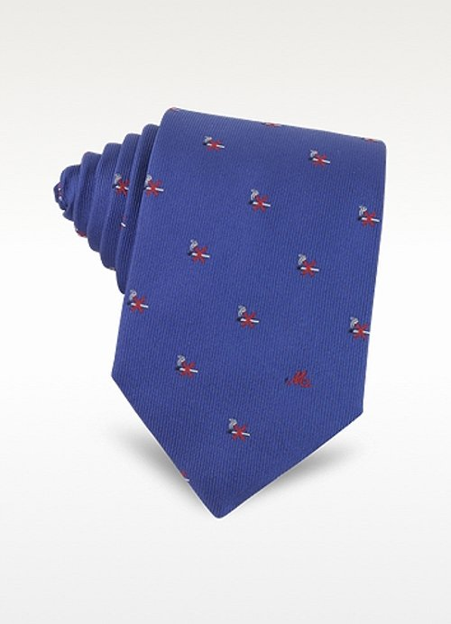 No Smoking Print Silk Jacquard Tie by Moschino in Unfinished Business