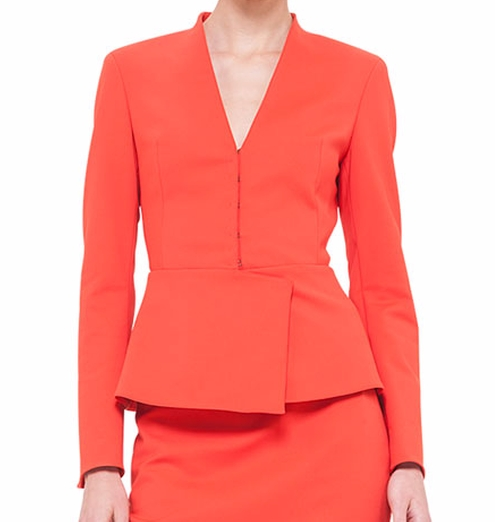 Peplum Stretch-Crepe Jacket by Akris in The Good Wife - Season 7 Episode 17