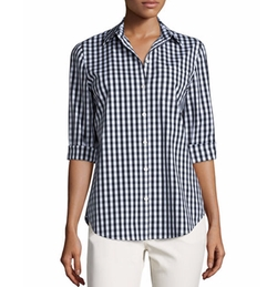 Wisteria Button-Front Check Top by Lafayette 148 New York in Friends From College