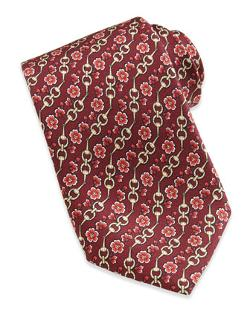 Horsebit and Floral-Print Silk Tie, Red by Gucci in Wish I Was Here