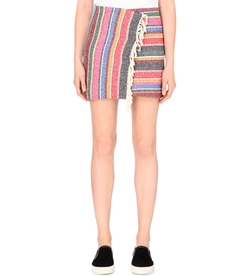 Josy Striped Cotton-Blend Wrap Skirt by Sandro in Pretty Little Liars