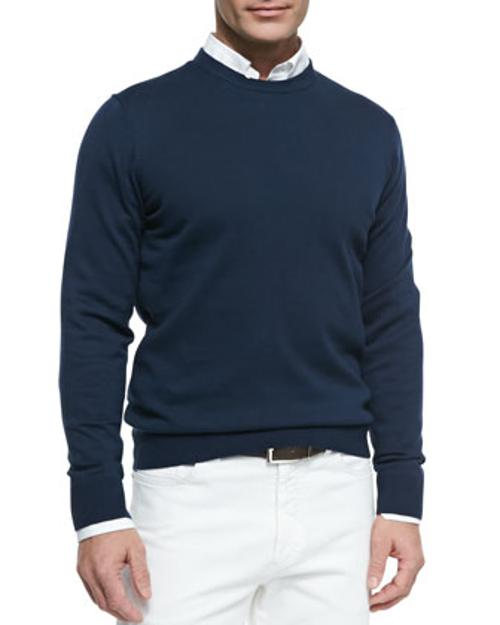 Cotton Crewneck Pullover Sweater by Neiman Marcus in The Dark Knight Rises