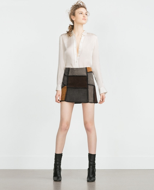Patchwork Leather Mini Skirt by Zara in Pretty Little Liars