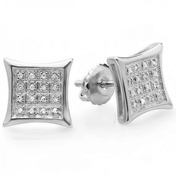 Diamond Kite Shape Stud Earrings by Dazzling Rock Collection in Ballers