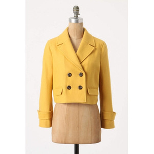 Luisa Cropped Peacoat by Anthropologie in Pitch Perfect